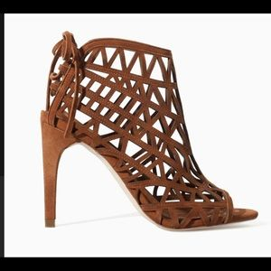 Zara lattice brown suede lace-up heel
